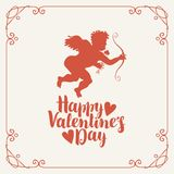 Valentine card with Cupid, bow, arrow and hearts. Vector banner or greeting card with a calligraphic inscription Happy Valentines day with hearts. Cupid with bow Stock Photos