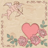 Valentine card. Cupid and heart with roses. Heart with cupid and roses. Greetings card with beautiful ornament of renaissance epoch. Valentine background Stock Image