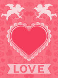 Valentine card with cupids and heart frame Stock Images