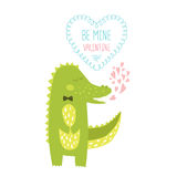 Valentine card. With cute alligator. Vector illustration isolated on white background with love Stock Images