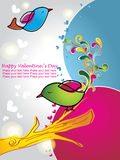 Valentine card with cute birds with flowers Royalty Free Stock Photo
