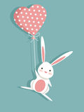 Valentine card with a cute bunny. Illustration Royalty Free Stock Photo