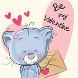Valentine card with cute cartoon Kitten. Holding envelope Royalty Free Stock Photography