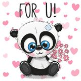 Valentine card Cute Cartoon Panda with flowers. On a heart background Stock Photos