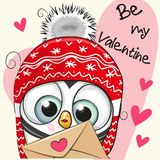 Valentine card with cute cartoon Penguin royalty free illustration