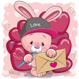 Valentine card with cute cartoon rabbit. Holding envelope vector illustration
