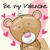 Valentine card with cute cartoon Teddy Bear stock illustration