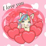 Valentine card with Cute Cartoon Unicorn stock illustration