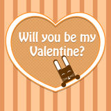 Valentine card with cute rabbit Royalty Free Stock Image
