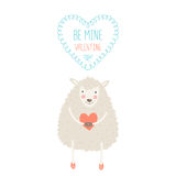 Valentine card. With cute sheep. Vector illustration isolated on white background with love Royalty Free Stock Image