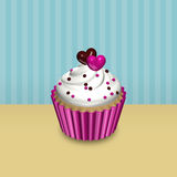 Valentine card with 3d cupcake over vintage background. Valentines card with 3d cupcake over vintage background Stock Photos