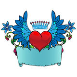Valentine card decor. Heart with wings. Royalty Free Stock Photo