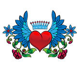 Valentine Card Decor. Heart With Wings. Royalty Free Stock Photography