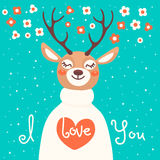 Valentine card with  deer and  declaration of love Stock Images