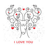 Valentine card with deer and hearts. Stock Images