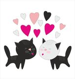 Valentine card design with cats Stock Images