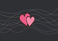 Valentine card with dotted lines. Valentine card with hearts and dotted curve lines on dark background Stock Photography