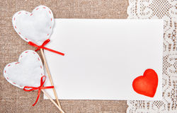Valentine card with drawing red heart on lace Royalty Free Stock Images