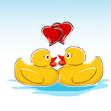 Valentine card with ducks Stock Photography