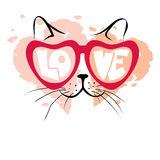 Valentine card -- Enamored cat. Vector illustration, print, background with funny cat in glasses Stock Photo