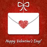 Valentine card with envelope and elegant heart Stock Image