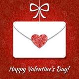 Valentine card with envelope and elegant heart. On floral background stock illustration