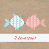 Valentine card fish. Kraft paper Royalty Free Stock Images