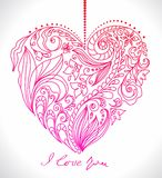 Valentine card with floral heart vector illustration