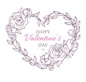 Valentine Card with flower wreath in heart shape. Vintage card. Stock Images