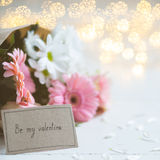 Valentine card and flowers Stock Photo