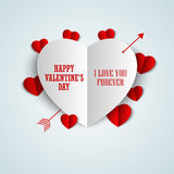 Valentine card with folded paper hearts Stock Photo