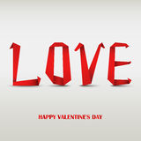 Valentine card with folded red paper love. Vector eps 10 Royalty Free Stock Image