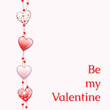 Valentine card with four red glossy hearts. And text Be my Valentine, illustration Stock Images