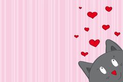 Valentine card with funny cat looking from the corer of page. Valentine card with funny gray cat looking from the corner of the page - original hand drawn Royalty Free Stock Images