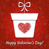 Valentine card with gift and elegant heart Stock Photos