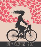 Valentine card with girl on bike Royalty Free Stock Images