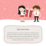 Valentine card, a girl is giving a gift box to a boy. Royalty Free Stock Images