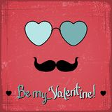 Valentine card with glasses, heart and mustache Royalty Free Stock Photography