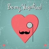 Valentine card with glasses, heart and mustache Stock Images