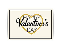 Valentine card with gold glitter heart. Happy Valentine`s day Royalty Free Stock Photo