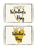 Valentine card with gold glitter hearts. Happy Valentine`s day Stock Images