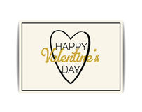 Valentine card with gold glitter text. Happy Valentine`s day Stock Images