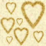 Valentine card, golden background, linen texture Royalty Free Stock Photos