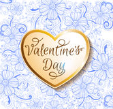 Valentine card with golden heart Stock Photos