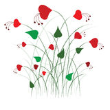 Valentine card. Grass with hearts , isolated on the white Royalty Free Stock Photography