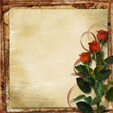 Valentine card. Grunge background with roses Stock Images