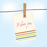 Valentine card hang on clothesline Royalty Free Stock Photos