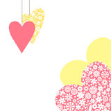 Valentine card with hanging decorative hearts Royalty Free Stock Photo
