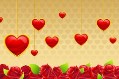 Valentine Card with Hanging Hearts Royalty Free Stock Image