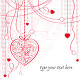 Valentine card with hanging hearts Royalty Free Stock Images
